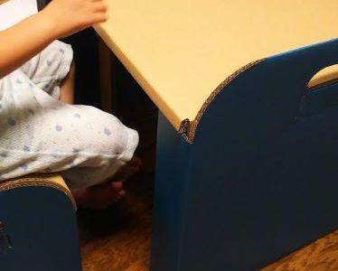 【4歳】段ボール机・イスセットを導入 集中して工作やお絵かきをして欲しい!